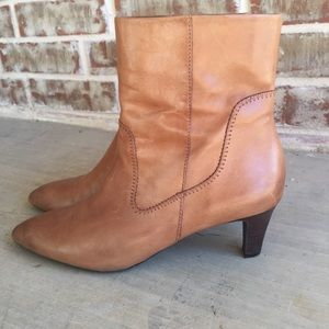Franco Sarto Camel Leather Ankle Booties Regis